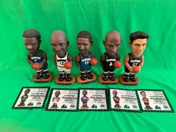 2000 Minnesota Timberwolves Bobblehead Complete Set Of 5 & A