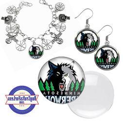 free design minnesota timberwolves earrings pendant bracelet