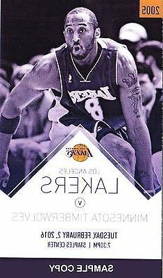 Kobe Bryant Lakers Unused Game Stubs for 02/02/2016 vs. Minn