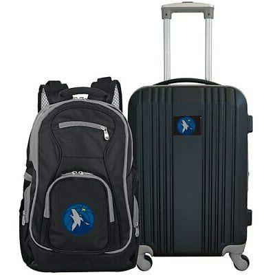 minnesota timberwolves 2 piece luggage and backpack