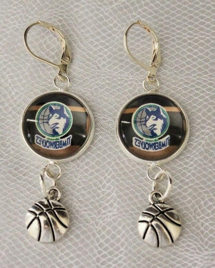 minnesota timberwolves earrings w basketball charm upcycle