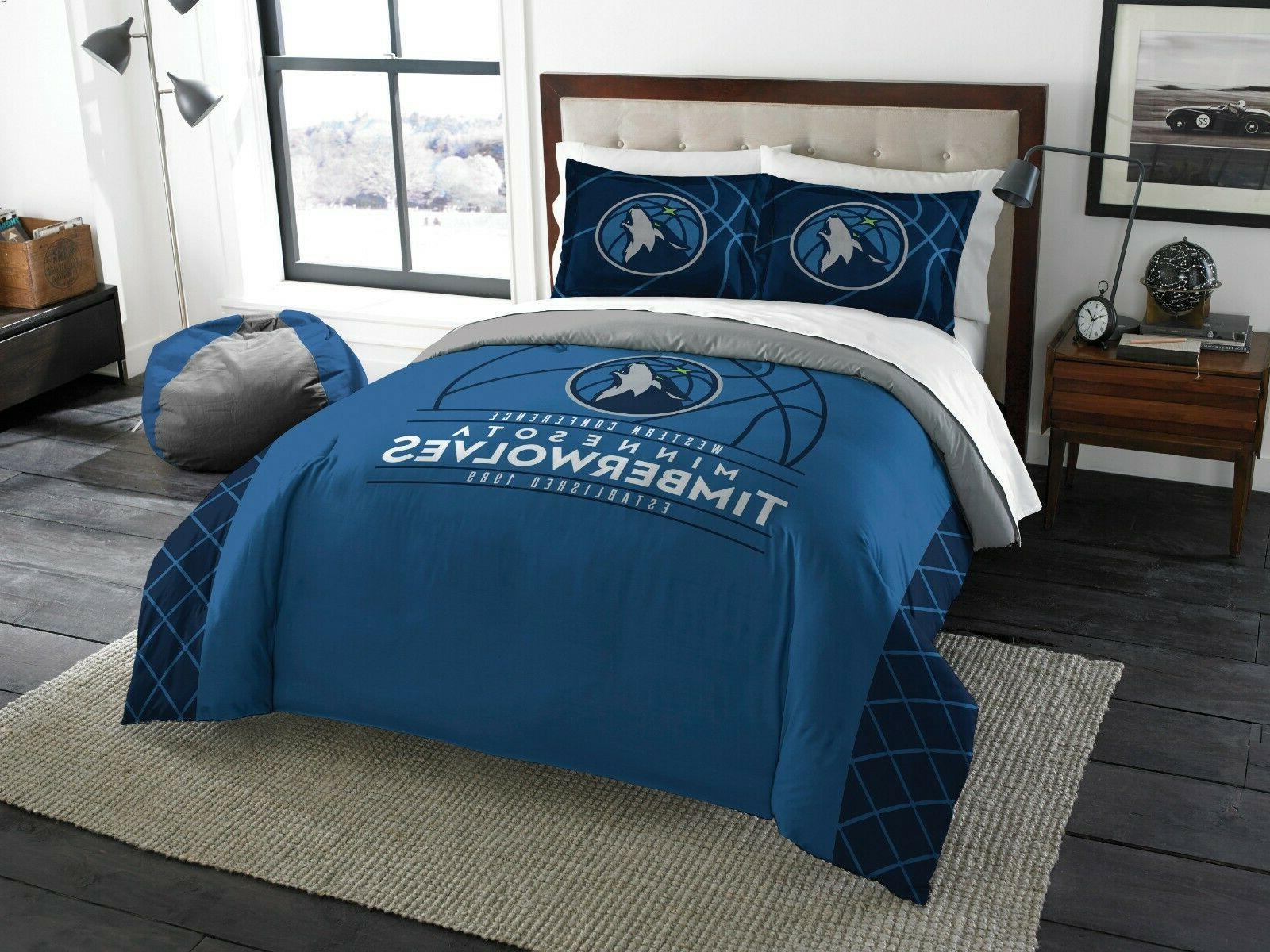 minnesota timberwolves full queen comforter and sham