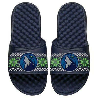 minnesota timberwolves ugly sweater slide sandals navy
