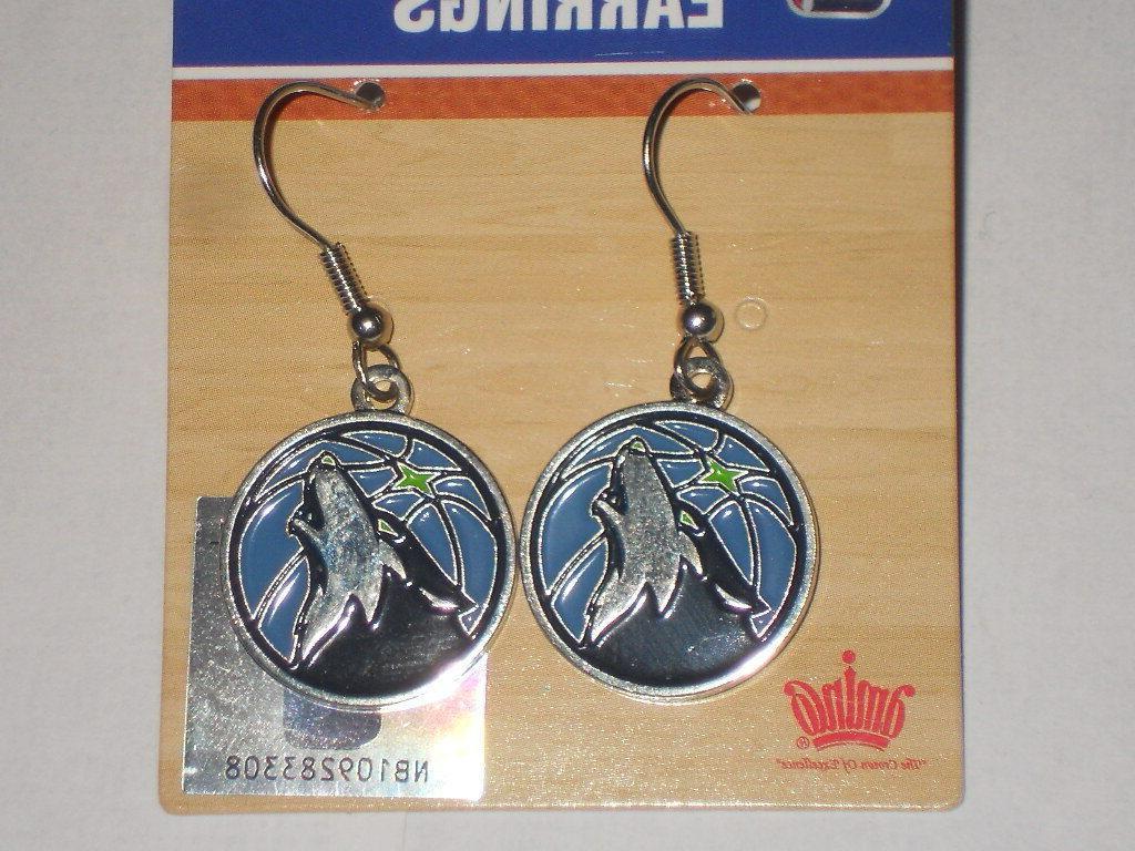 minnesota timberwolves women s round dangle earrings