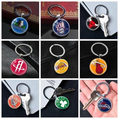 nba basketball team keychain silver car key