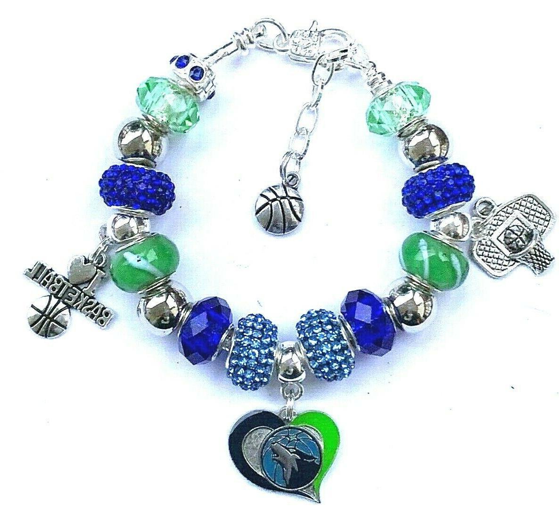 nba minnesota timberwolves crystal team charm bracelet