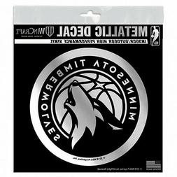 minnesota timberwolves 6 silver metallic style decal