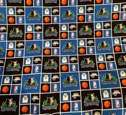 "Minnesota Timberwolves Block Cotton Fabric - 9"" x 42"" 1/"