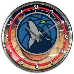 Minnesota Timberwolves Chrome Round Wall Clock  NBA Sign Ban
