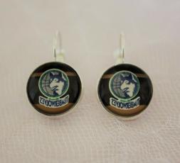 minnesota timberwolves earrings made from basketball trading