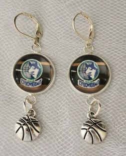 Minnesota Timberwolves Earrings w/Basketball Charm Upcycle f