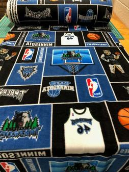 Minnesota Timberwolves Fleece Fabric All Over Print-NBA Flee
