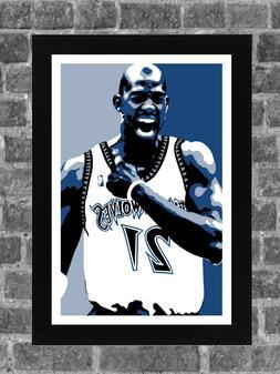 Minnesota Timberwolves Kevin Garnett Portrait Sports Print A