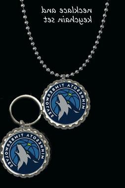 minnesota Timberwolves keychain keyring and necklace set gre