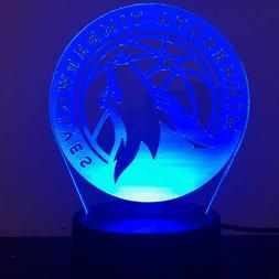 MINNESOTA TIMBERWOLVES NBA BASKETBALL 3D Acrylic LED 7 Colou