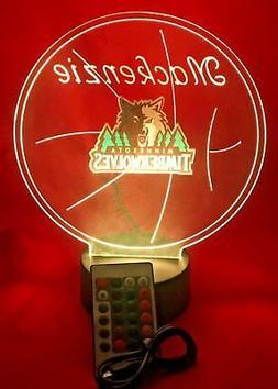 Minnesota Timberwolves NBA Basketball Light Up Lamp LED, Rem