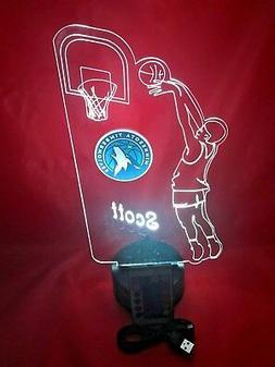 Minnesota Timberwolves NBA Basketball Player Light Lamp LED
