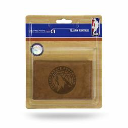Minnesota Timberwolves NBA Embossed Brown Leather Trifold Wa