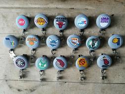 NBA basketball fabric Retractable Badge Reel with Swivel or