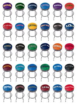 NBA - Chrome Ribbed Bar Stool - Fade Basket Team Logo